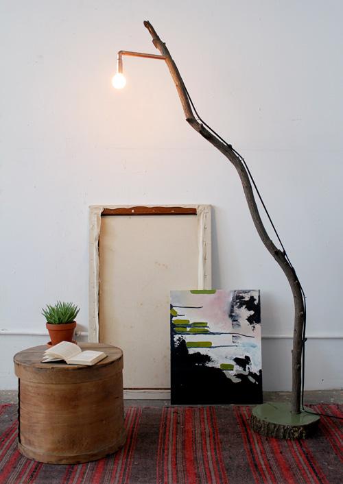 Diy copper branch floor lamp