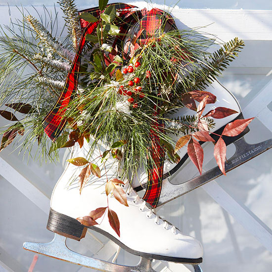 diy decorated ice skates front porch decor