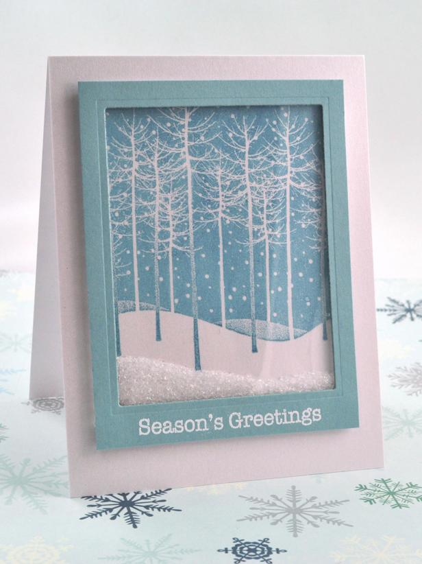 Diy falling snow holiday shaker card