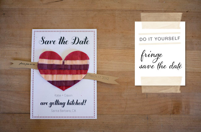 25 diy save the dates to start the festivities diy fringe heart save the date junglespirit Choice Image