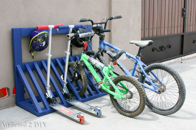 Diy kid's bike rack with helmet