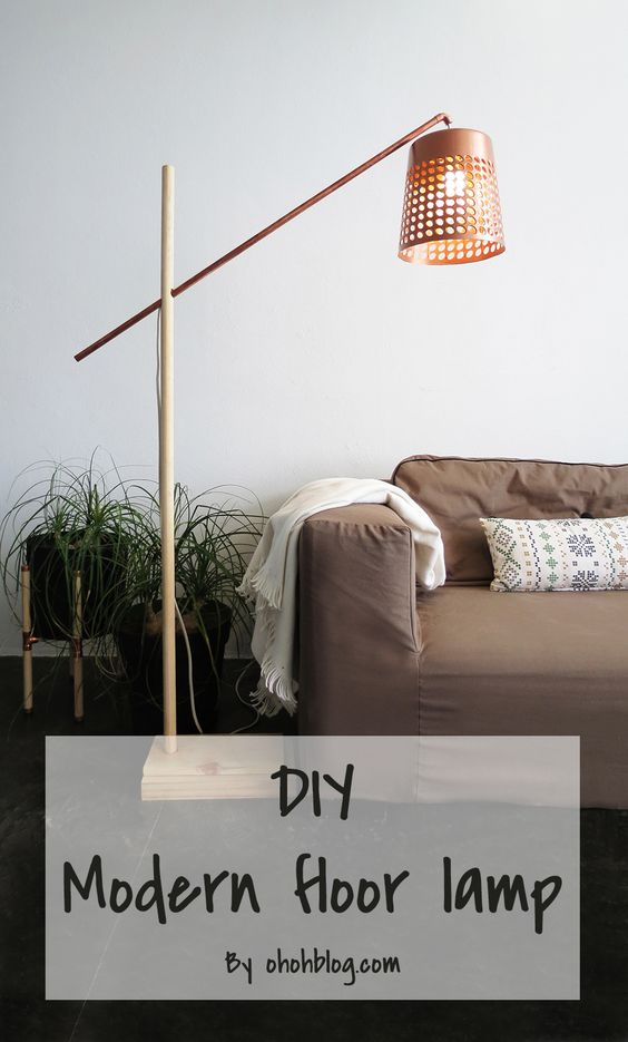 Light up the living room with these 25 diy floor lamps diy modern floor lamp solutioingenieria Choice Image