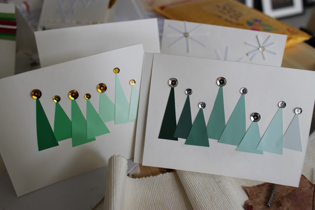 Diy paint chip christmas tree cards