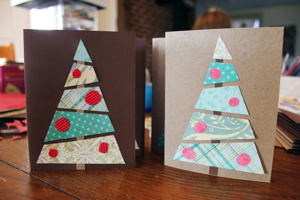 Diy paper christmas tree cards