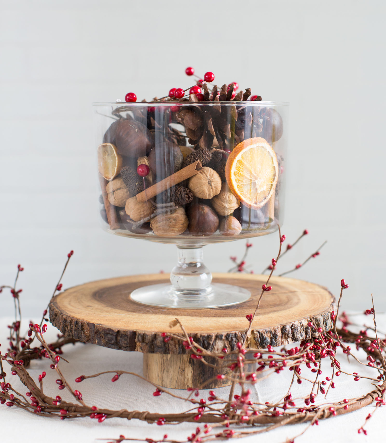 Diy rustic pinecone trifle centerpiece