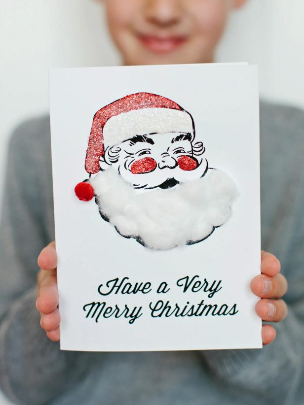 Diy santa claus beard card