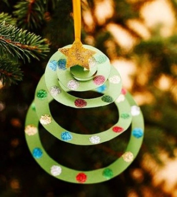 diy spiral tree ornament - Christmas Tree Decorations For Kids
