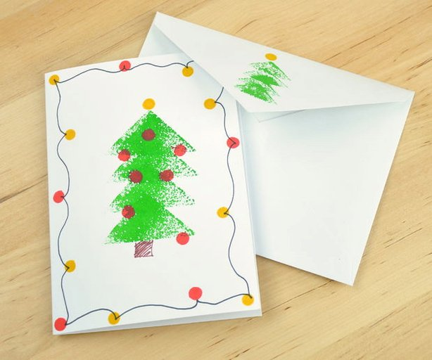 Diy sponge stamped christmas tree