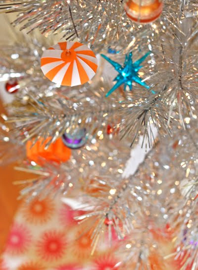 Diy striped paper tree ornaments