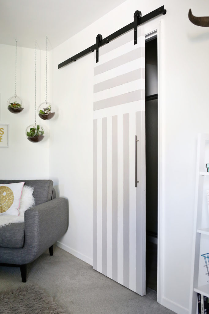 Diy striped sliding door