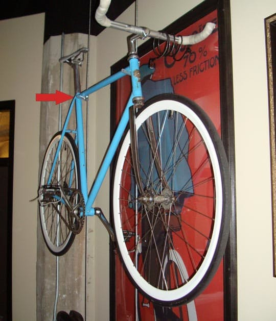 Diy suspended bike rack