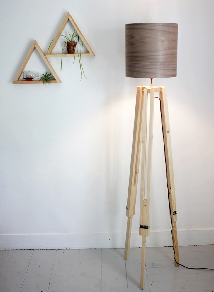 Light up the living room with these 25 diy floor lamps neutral wood diy tripod floor lamp aloadofball Choice Image