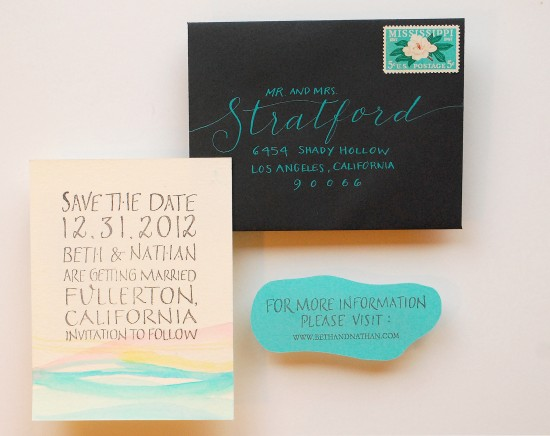 Diy watercolor save the date