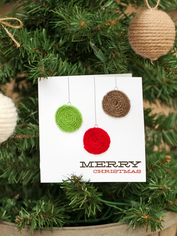 Diy yarn holiday ornament card