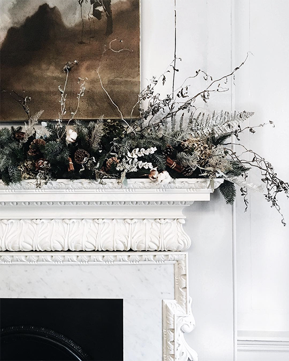 Dried floral mantel decoration sohohouse