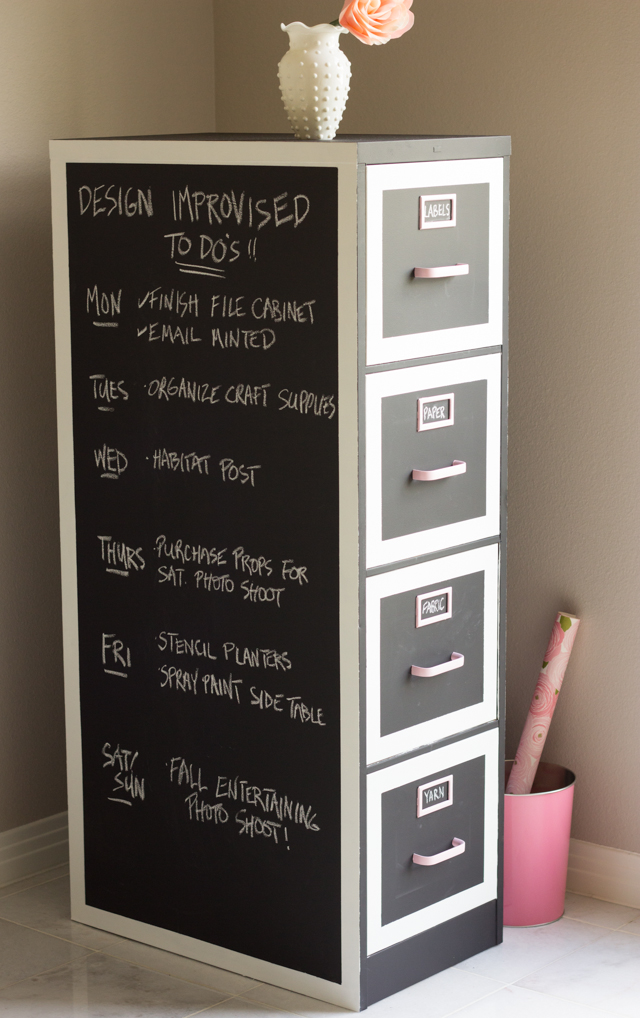 Filing cabinet chalk board makeover