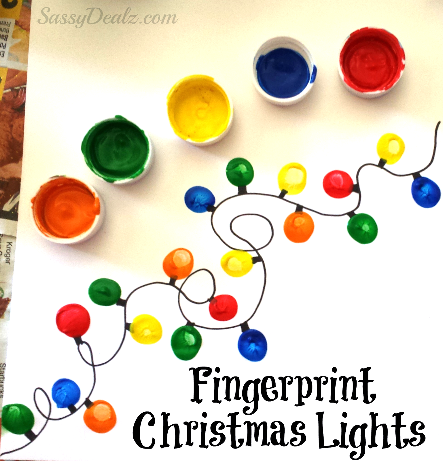 Fingerprint christmas lights craft