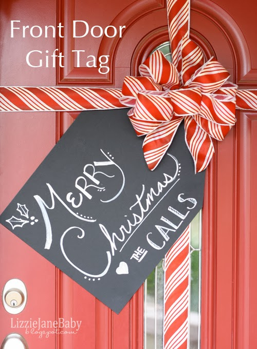 Front door gift tag diy