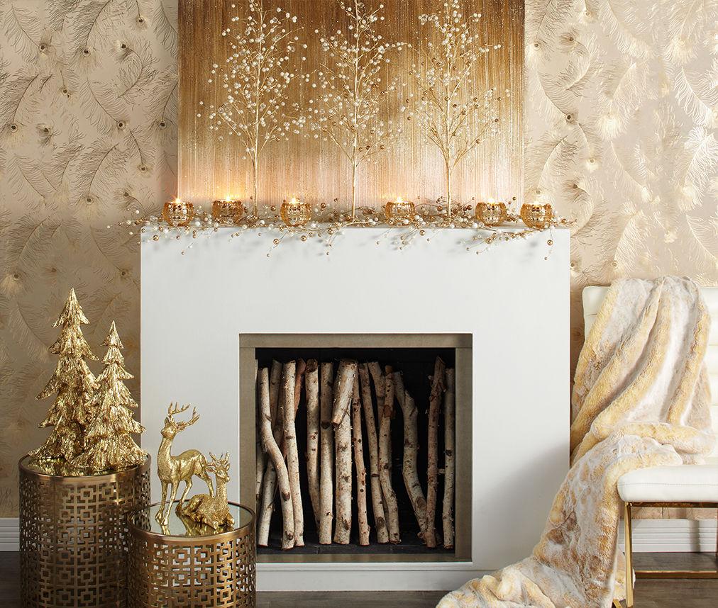 Glamorous gold mantel