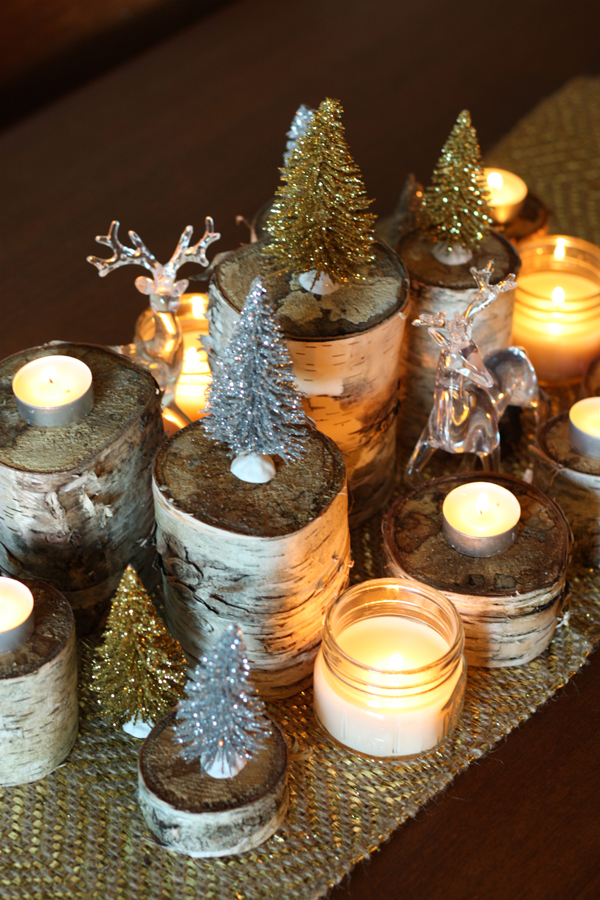 Holiday birch centrepiece