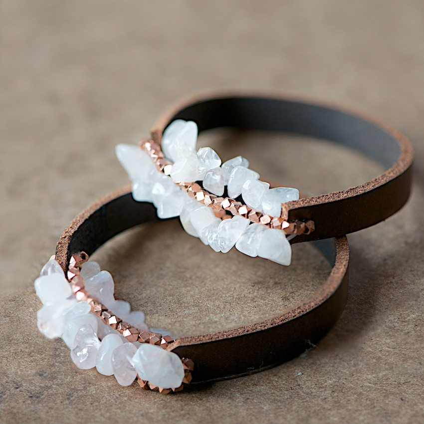 Leather crystal bracelet gift