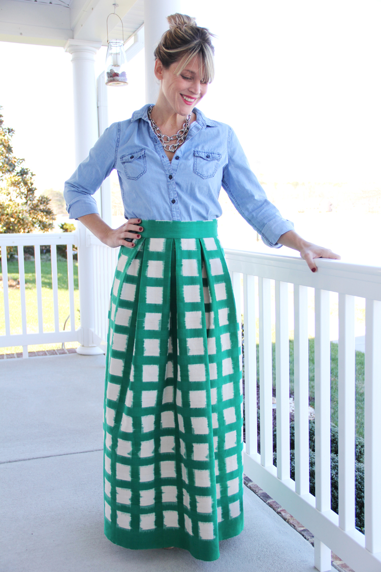 Maxi skirt pleated sewing tutorial