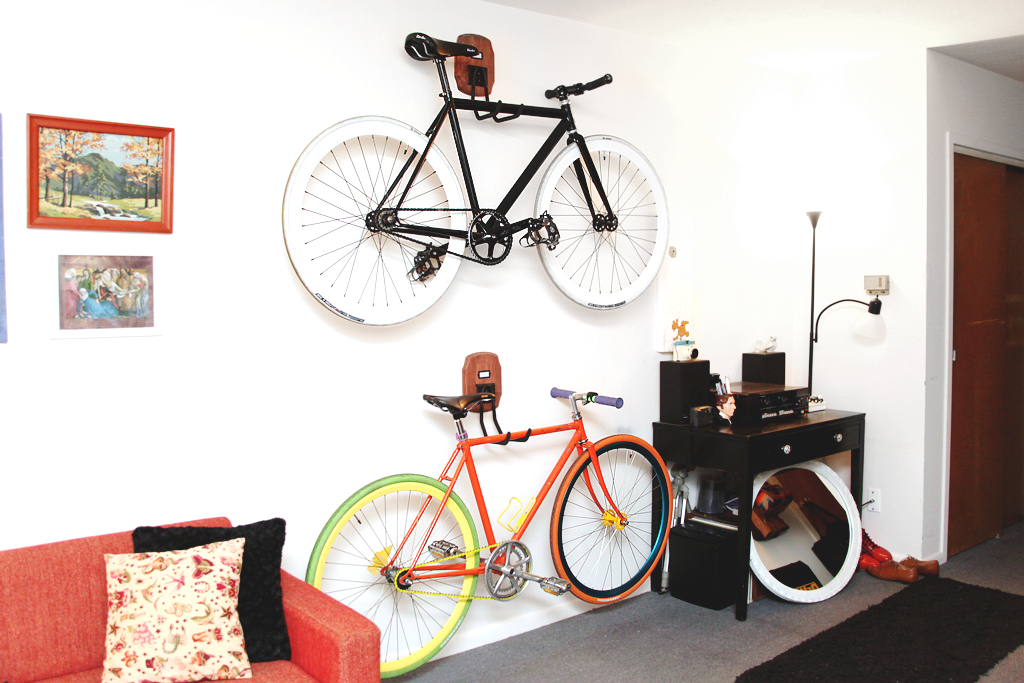 On the wall bike storage diy