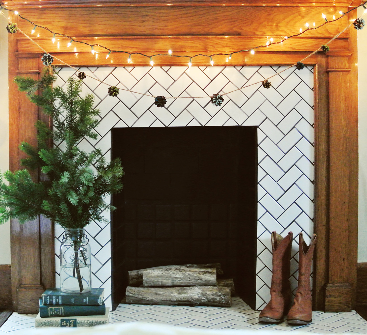 Painted pinecone mantel idea