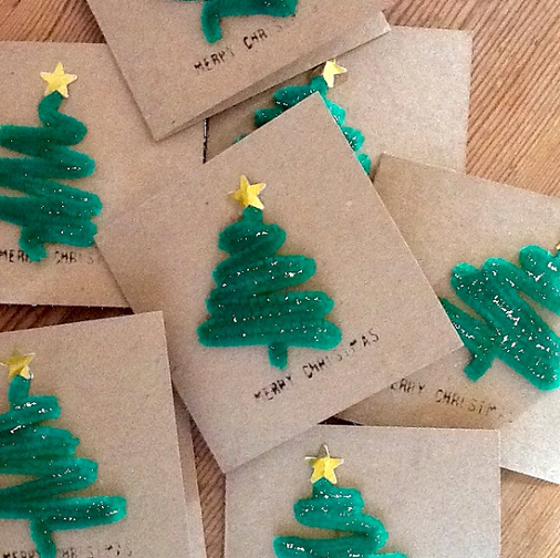 Pipecleaner christmas tree craft for cards