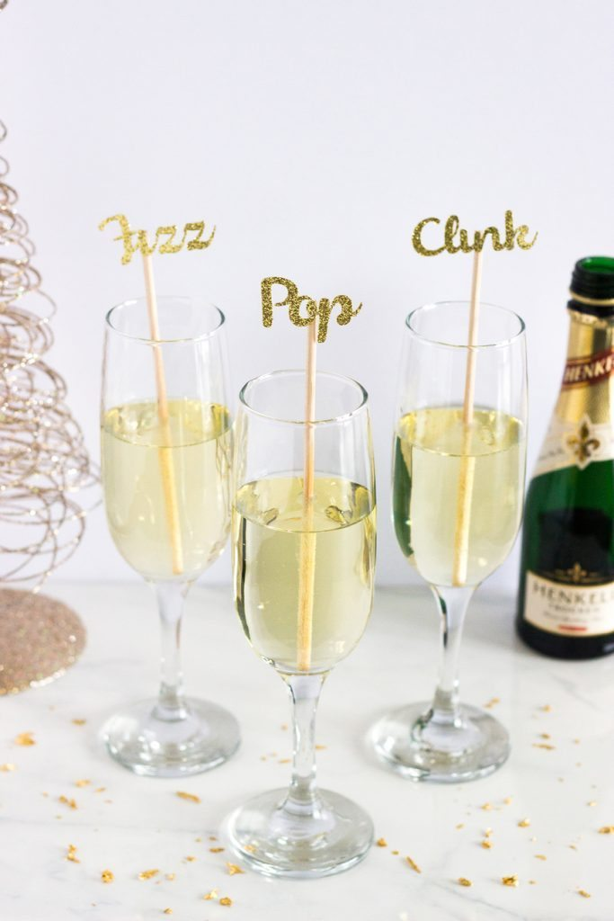 Pop fizz clink glitter stir sticks
