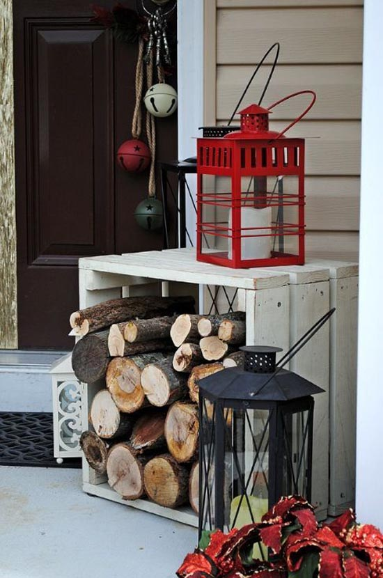 porch decoration ideas with firewood diy - Front Door Christmas Decorations Ideas