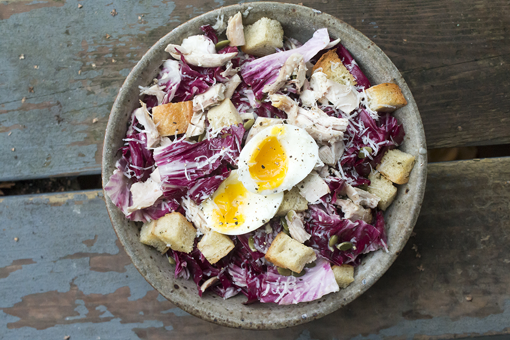 Roast chicken radicchio caesar salad