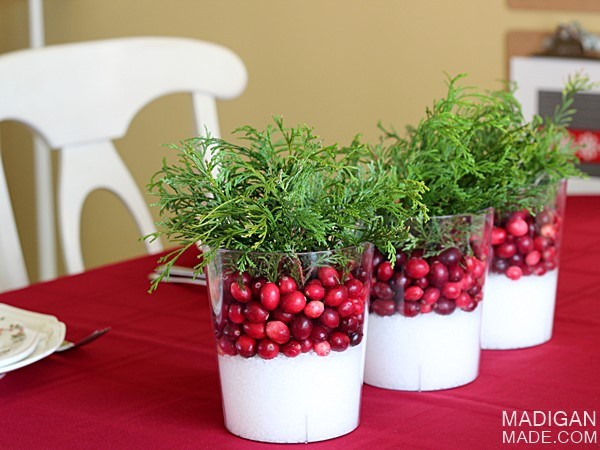 Simple cranberry centerpieces diy