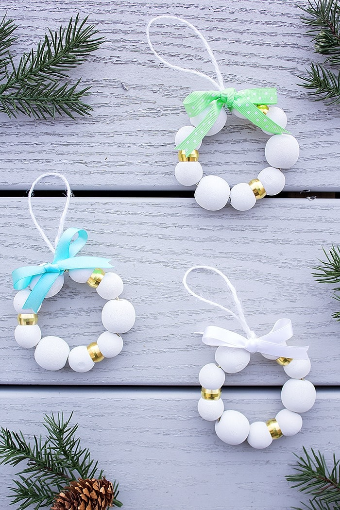 Simple wood bead ornaments