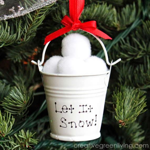 Snow ball bucket ornament