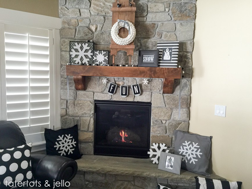 Snowflake mantel idea