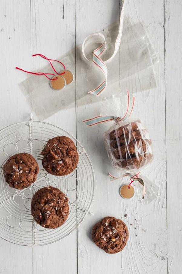 Triple chocolate hazelnut cookies