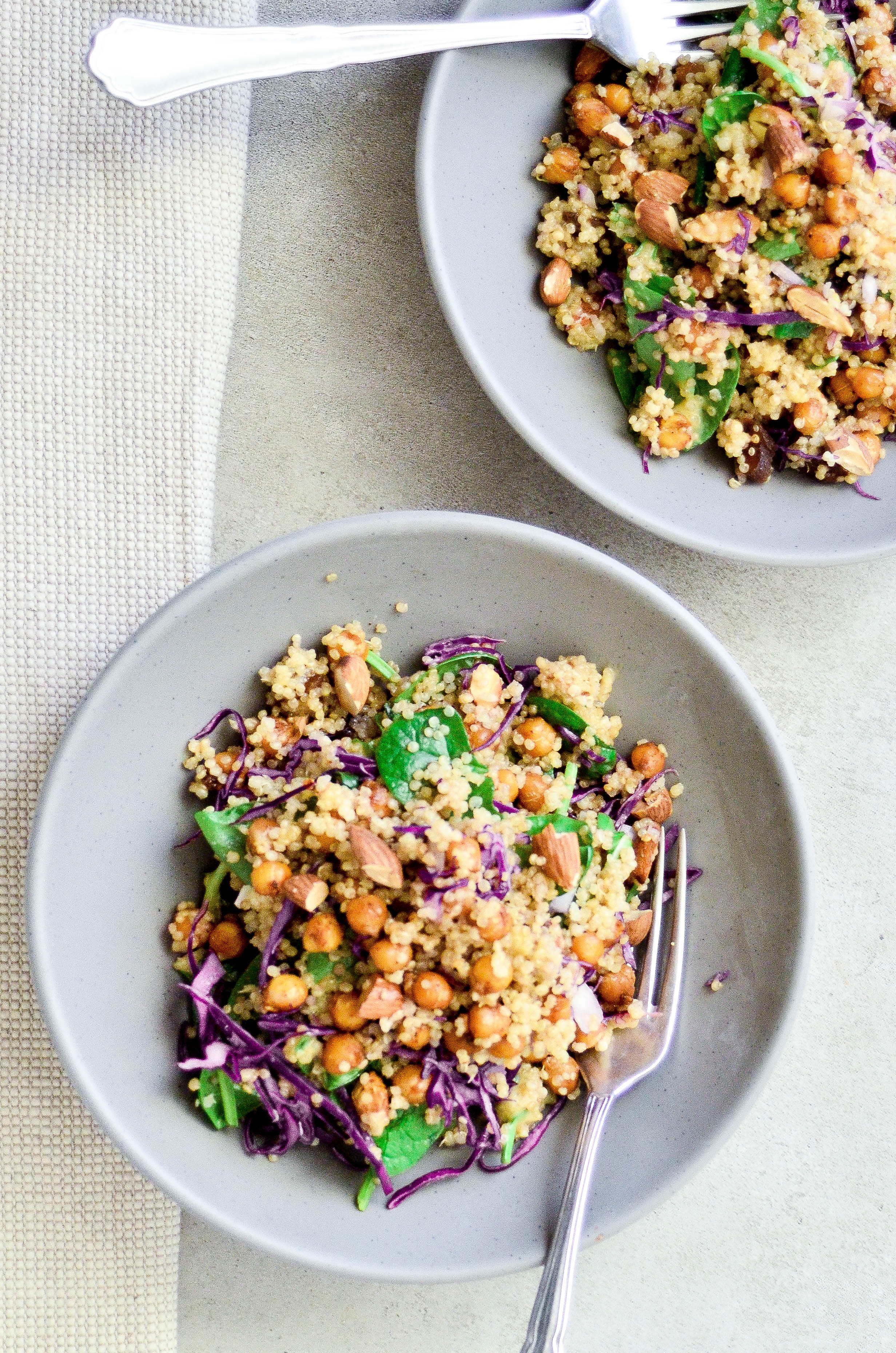 Warm quinoa salad with garbonzo beans