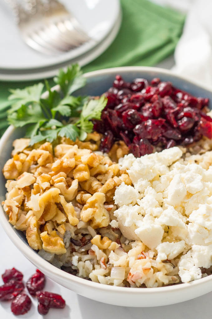 Warm wild rice salad cranberries goat cheese