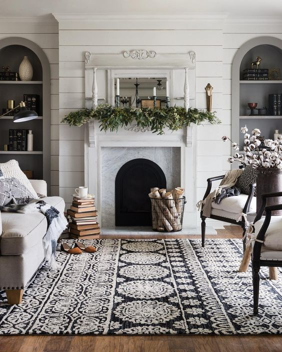 Winter Mantel Greenery And Taper Candles