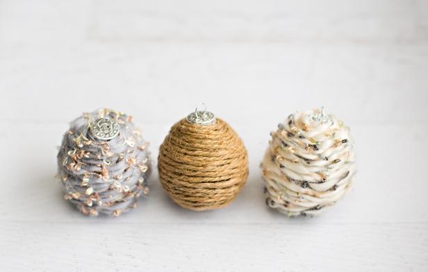 Yarn wrapped diy ornaments