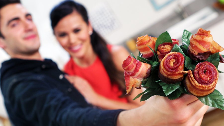 Bacon rose bouquet diy