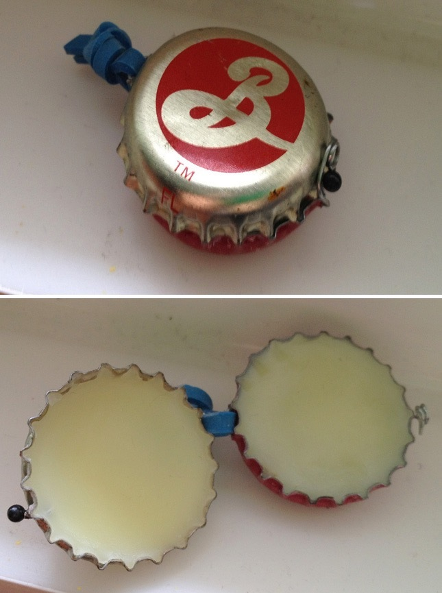 Bottle cap lip balm pot