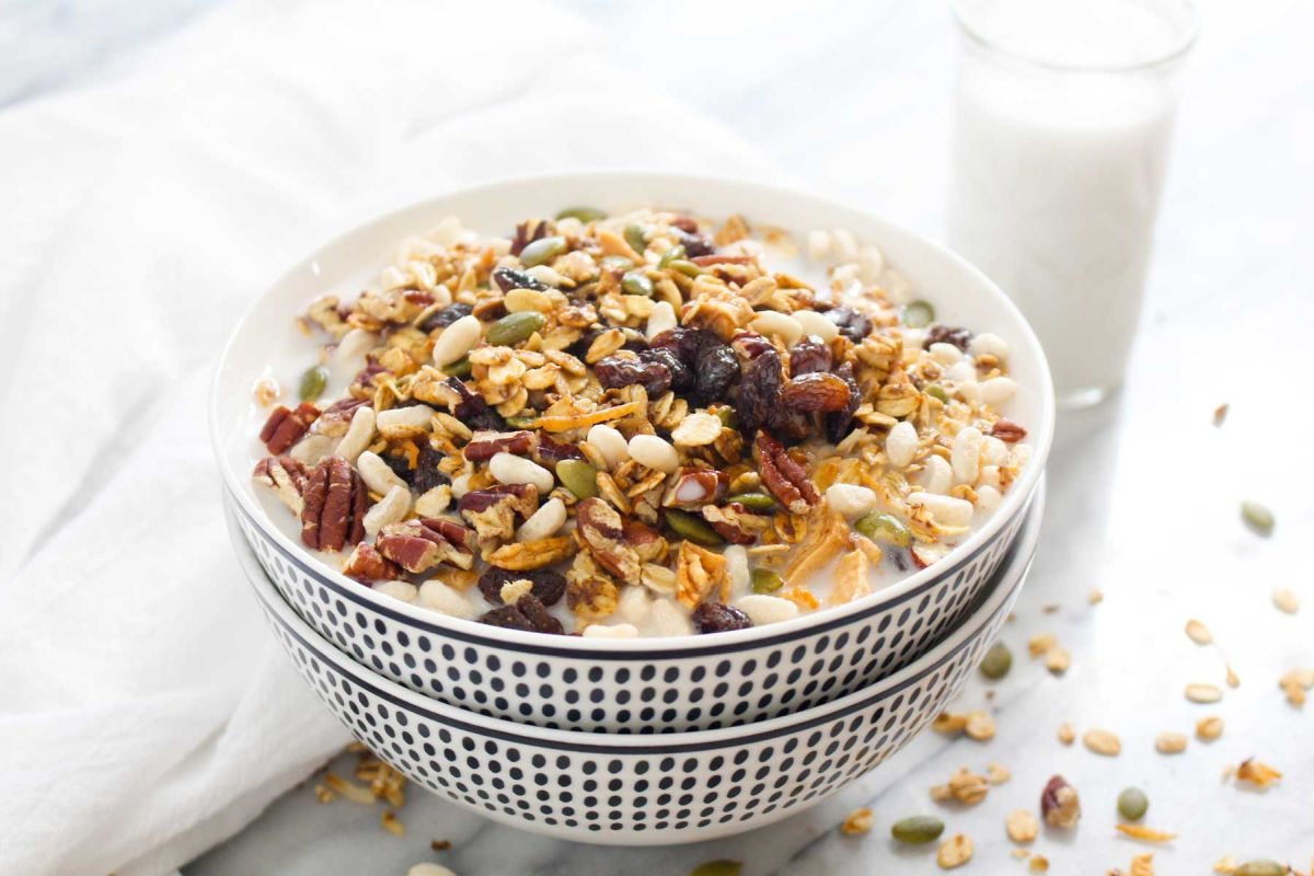 Bowls of homemade muesli cereal