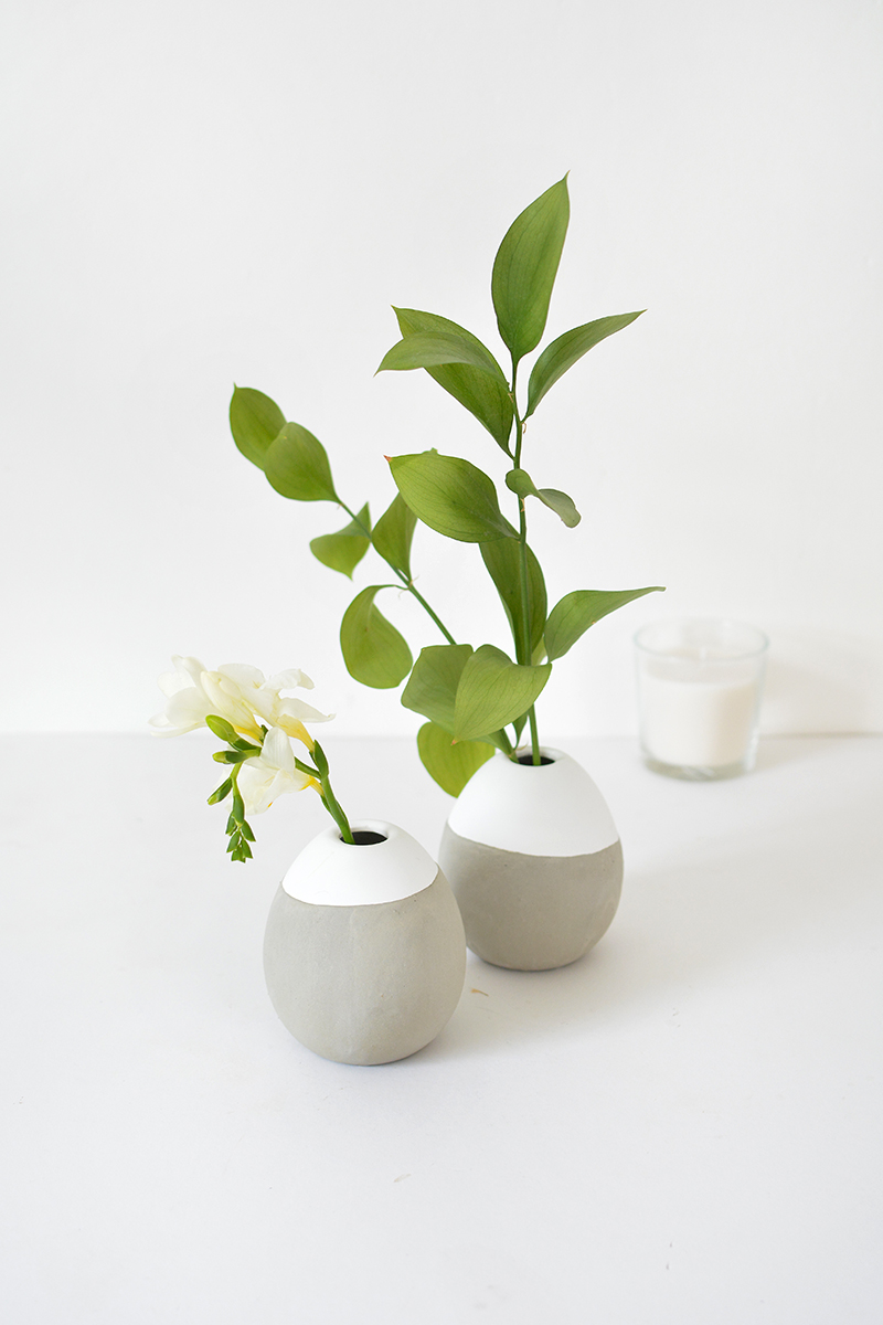Bud vase dipped in concrete