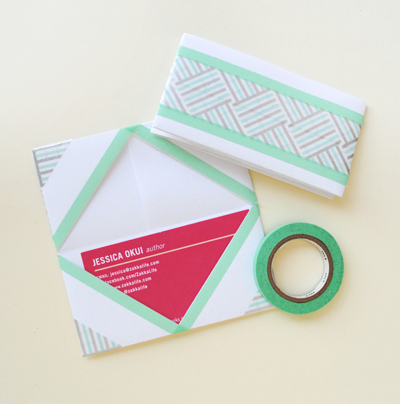 Business card holder with washi
