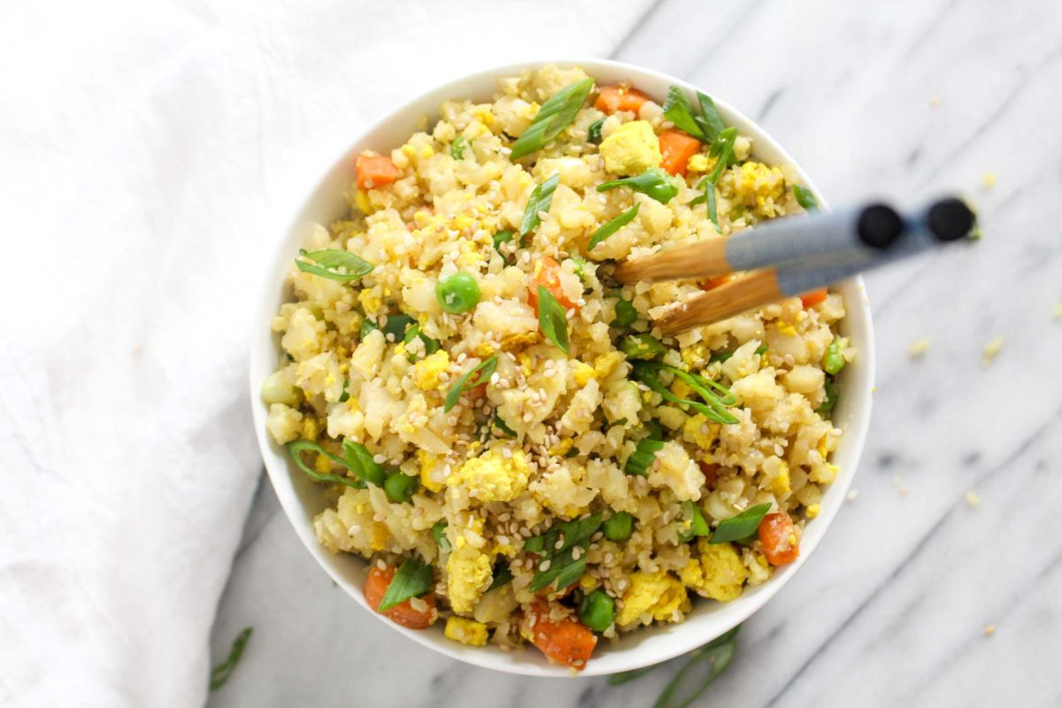Cauliflower fried rice serve