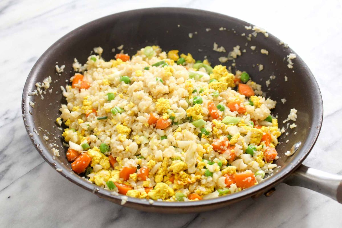 Cauliflower fried rice scallions