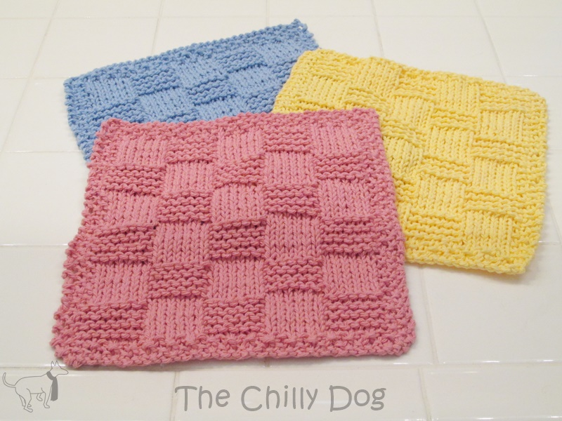 Checkered knit washcloth set