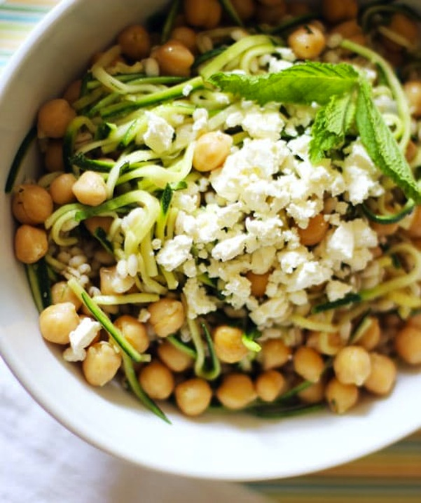 Chickpea, barley, and zucchini ribbon salad with mint and feta